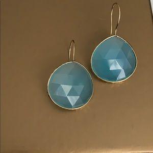 Jewelry - 14K gold blue chalcedony tear drop earrings.
